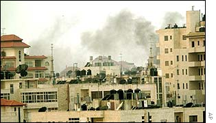 Smoke rises from Ramallah buildings