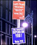 Pro and anti-abortion posters in Ireland