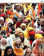 A gathering of Hindu holymen in Delhi