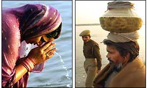 A Hindu woman prays at the River Saryu  and a pilgrim carries holy water