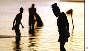 Devotees take a dip in Saryu river