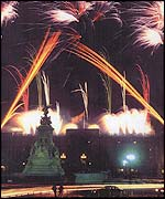 Artists impression of jubilee fireworks display at Buckingham Palace