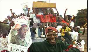 Celebrating Zanu-PF supporters