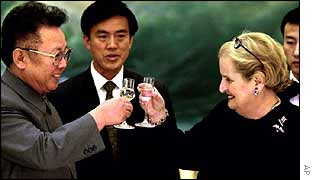 North Korean leader Kim Jong-il (L), former US Secretary of State Madeleine Albright (R)