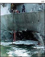 The USS Cole in Sanaa harbour