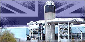 Ford Dagenham plant, against the Union Jack flag