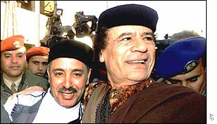 Lockerbie co-accused Al Amin Khalifa Fhimah celebrated his acquittal with Libyan leader Colonel Muammar Muhammad al-Gaddafi