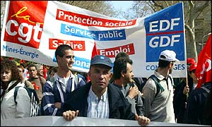 Demonstrators from a French trade union