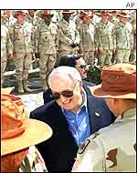 Mr Cheney greets troups