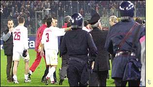 Clash between Galatasary and Roma