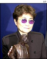 Ono has already been presented with a miniature statue of Lennon