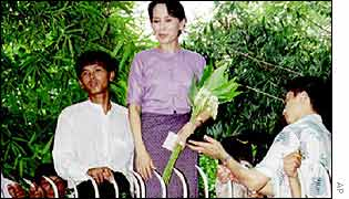 Aung San Suu Kyi at her home in 1995