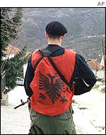 An Albanian guerrilla in Selce during last year's fighting