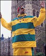 Ali G holds court outside the Houses of Parliament