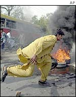 Protester sets fire in Lahore