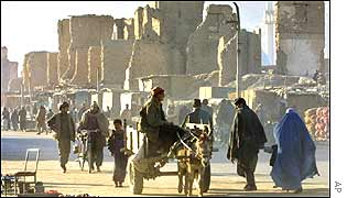 Damaged buildings in Kabul