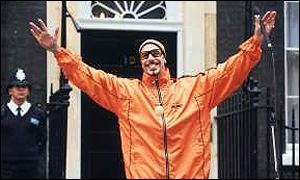 Ali G poses in Downing Street