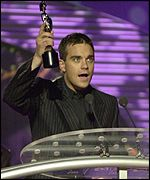Robbie Williams at the Brit Awards 2000