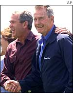 President George W Bush and his father George Bush