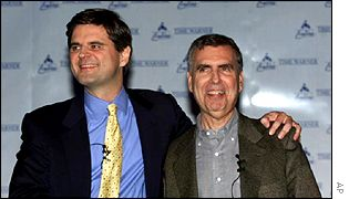 AOL's Steve Case, left, and Time Warner's Gerald Levin at the time of the merger announcement