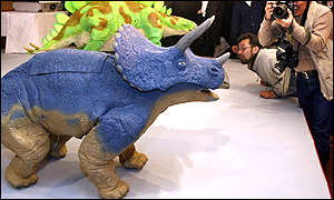 Robot dinosaur by Japanese electronic maker Omron and Japanese robot maker Tmsuk