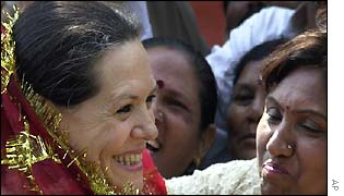 Congress party chief Sonia Gandhi being greeted by supporters in Delhi