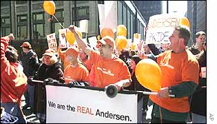 Andersen employees protesting