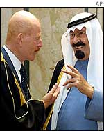 Iraqi vice-president Ezzat Ibrahim and Crown Prince Abdullah of Saudi Arabia