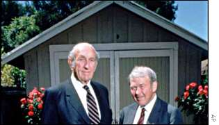 Bill Hewlett and David Packard, and the garage in which they founded HP