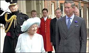 Charles and the Queen Mother at Clarence House