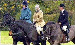 The Queen and Princess Royal riding at Windsor