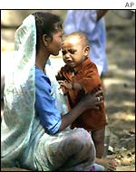 A Muslim women with her child