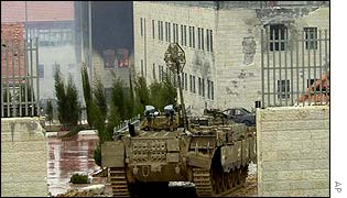 Israeli tanks inside the Preventive Security headquarters in Ramallah