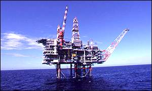 Oil rig in Nelson field, North Sea