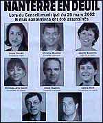 Poster showing the councillors who were killed