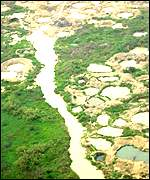Aerial view of Koidu's diamond mines, Sierra Leone