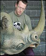 Neil with the head of the rhino costume