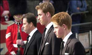 Viscount Linley, Prince William and Prince Harry