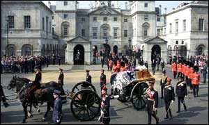 The procession passes along Whitehall