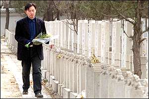 A man visits a grave at Beijing's Babaoshan cemetery