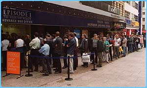 Fans queued in London for Episode I