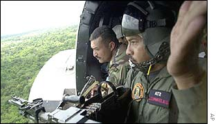 Venezuelan soldiers use helicopters to patrol the border with Colombia