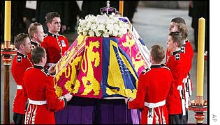 The Queen Mother's coffin is put into place