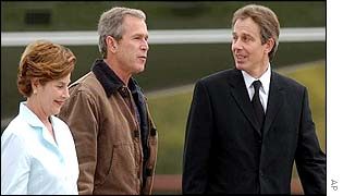 Laura Bush, George Bush and Tony Blair