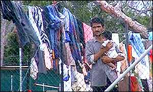 Asylum seekers in a makeshift camp, Nauru