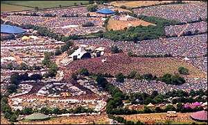 Glastonbury Festival from the air