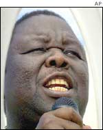 MDC leader Morgan Tsvangirai at a rally on Sunday 7 April