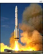 A proton rocket takes off