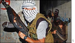 Palestinian fighters practicing in Gaza City