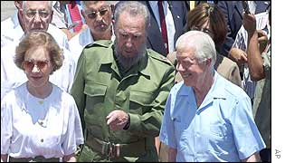 Rosalynn Carter (L), Fidel Castro (C) and Jimmy Carter (R)